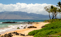 North view of Keawakapu Beach from Andaz.  West Maui under the clouds.