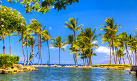I see this view, with calm waters, as an ad in Hawai'i magazine.