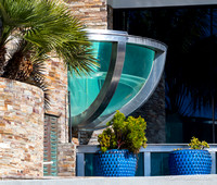 A glass jacuzzi on oceanfront of a Carlsbad home.