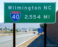 I-40 starts in Barstow, California where I took this photo with the end of I-40 in Wilmington, North Carolina.  We followed I-40 all the way to Knoxville, Tennessee
