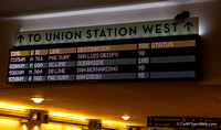New departure signs at Los Angeles Union Station with our 761 at the top.