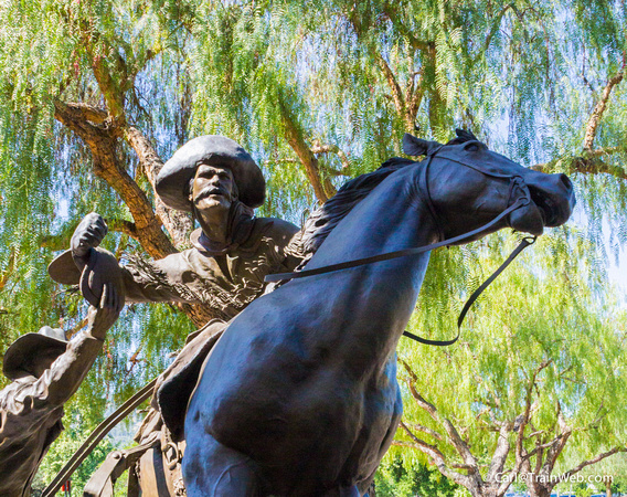 Pony Express statue outside The Autry.