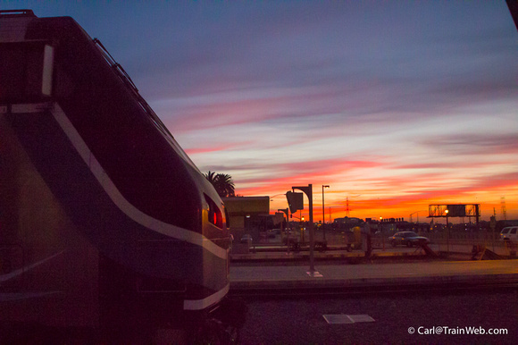 Sunrise and Metrolink locomotive.