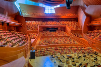 View of the 'house' of 2,000 seats from the organ level.  Acoustics are fixed, except for drapes, just for the best sound of the organ.