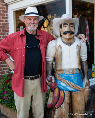 Later in the day, we walked through downtown and at the Frustrated Cowboy, Sue shot a photo of me and Jose.